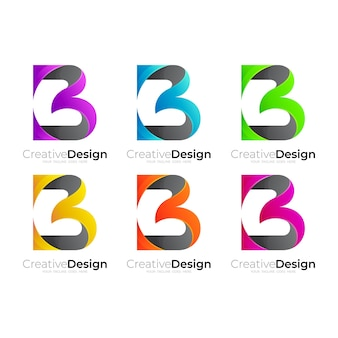 Sea b logo images, 3d colorful icon