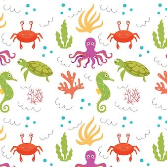 海の赤ちゃんパターンタコカニカニタツノオトシゴ海藻