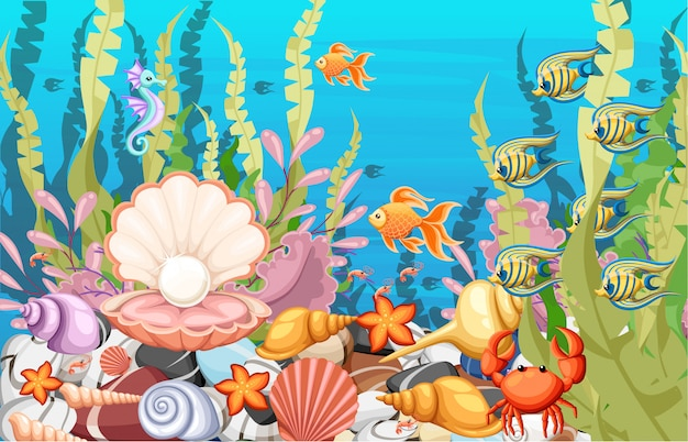 Under the sea background marine life landscape - the ocean and underwater world with different inhabitants.