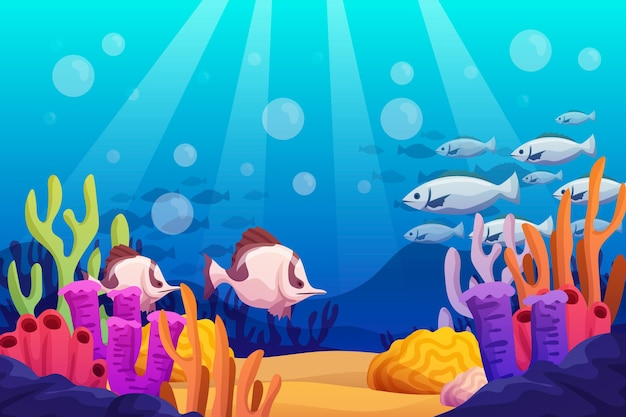 Under the sea - background for video conferencing Premium Vector