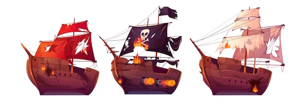 Sea battle of wooden ships. fight of pirate galleon and sailboats. Free Vector