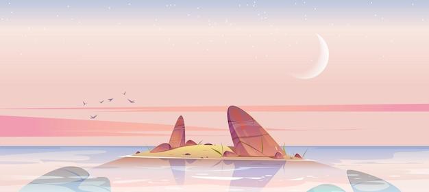 Морской пляж и небольшой остров в воде со скалами в утреннем векторном мультяшном пейзаже океана или озера ...