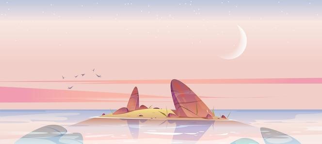 바다 또는 호수의 아침 벡터 만화 풍경에 바위가 있는 물 속의 바다 해변과 작은 섬...