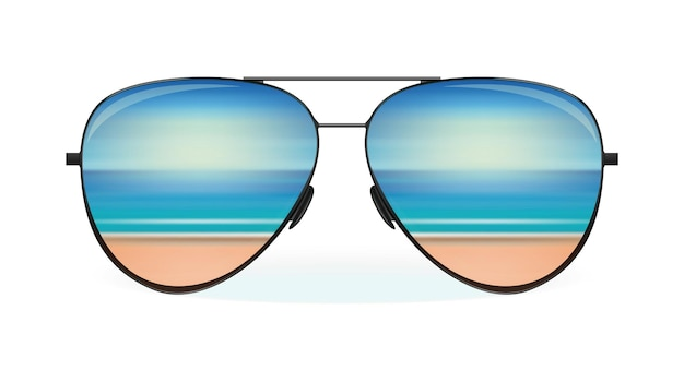 Sea and the beach are reflected in sunglasses