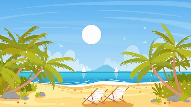 Море пляж остров пейзаж тропический рай приморский пейзаж с кокосовыми пальмами