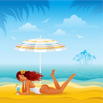 Sea beach landscape with beautiful slim tan girl laying under the sun unbrella with cocktail.