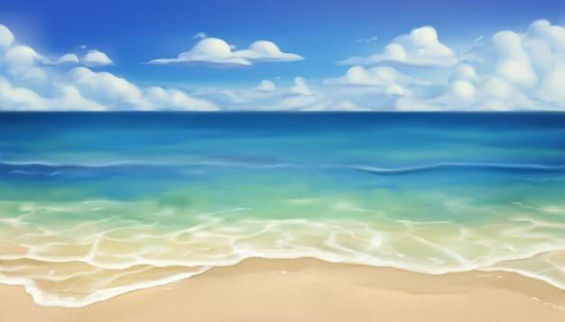 바다 해변. 모래와 파도 배경
