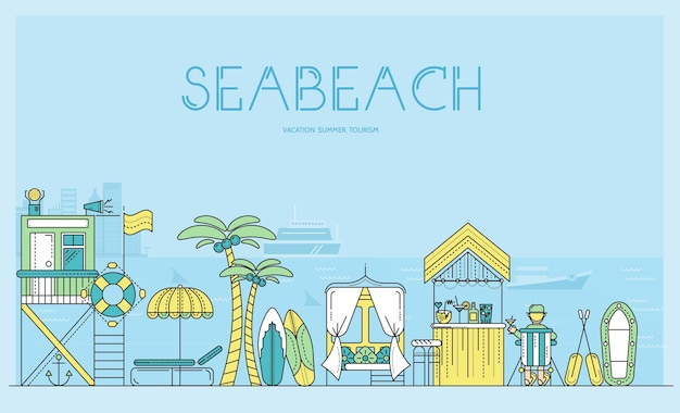 Sea beach with items for summer events contour. various equipment for summer holidays seashore.
