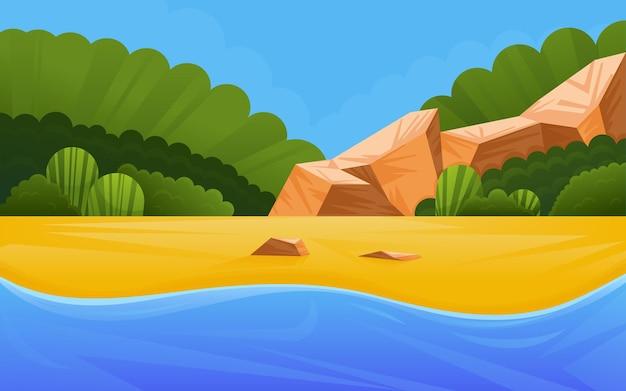 Морской пляж с тропическими растениями и скалами. рай для летнего отдыха