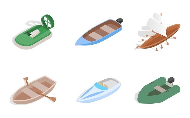 Sea boat icon set on white background
