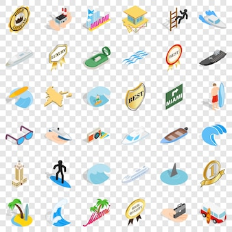 Sea boat icons set. isometric style of 36 sea boat icons