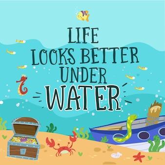 Sea bottom. underwater life