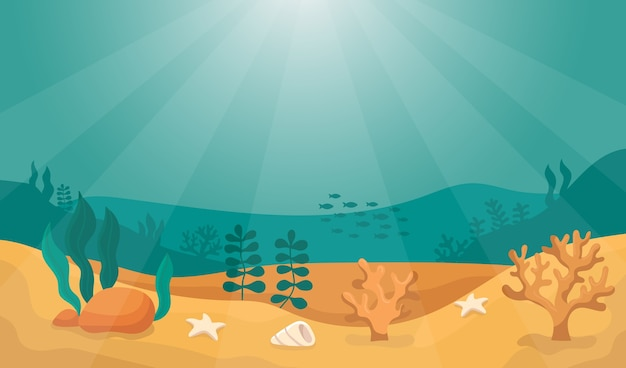 太陽を背景に海の底の水中世界