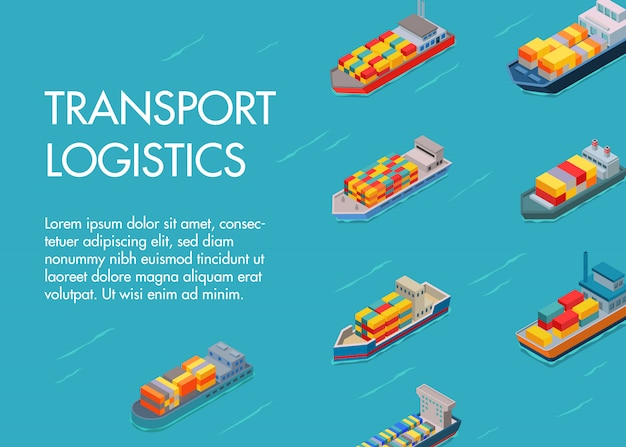 Sea cargo logistics transportation and trucks text template.  ocean and sea container ship with import export transport industry. transporting ships logistics.
