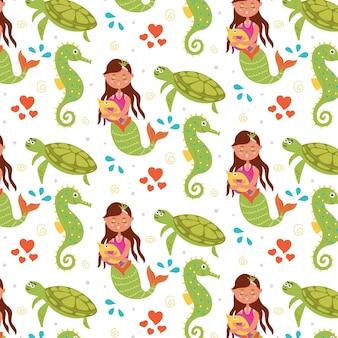 Sea children pattern mermaid turtle seahorse