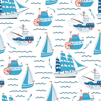 Sea children's seamless pattern with blue sailing ship, yacht, steamship, fishing boat
