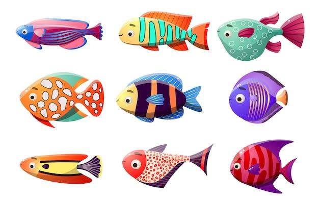 열대어의 바다 컬렉션. 9 가지 종류의 산호초 물고기의 멀티 컬러 세트.