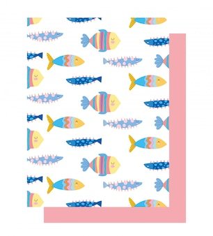 Under the sea, colored fishes cartoon wide marine life landscape background