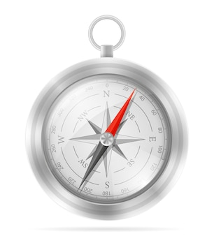 Sea ãƒâ¢ã'â€ã'â‹ãƒâ¢ã'â€ã'â‹compass to determine side of the world illustration isolated on white