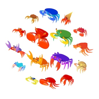 Sea crab animal set of icons