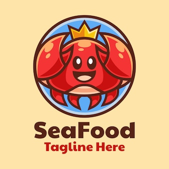 Дизайн логотипа мультфильм морской краб