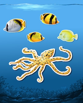 Sea creature sticket underwater background