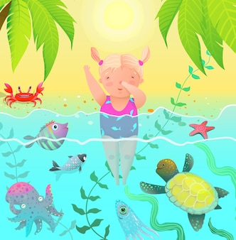 Sea creatures and cute child baby girl jumping into water with ocean sea creatures.