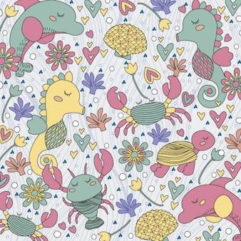 Sea creatures illustration