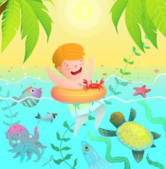 Sea creatures paradise vacation island and cute child baby boy swim with ring in the ocean with sea creatures.