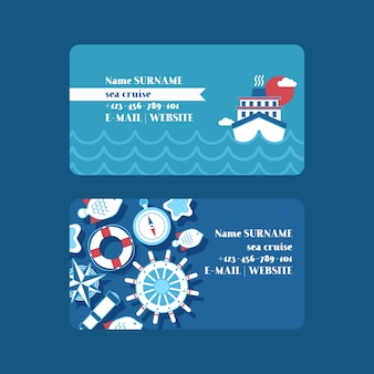 Sea cruise adventure set of business cards nautical collection of things such as ship wheel, spyglass, compass, lifeline.