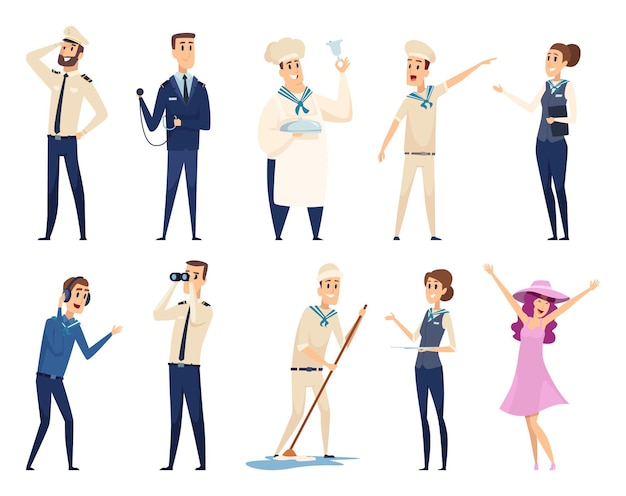 Sea cruise. sailing captain shipping officer navigating crew ocean travel team characters. illustration crew cruise, seaman and boatswain