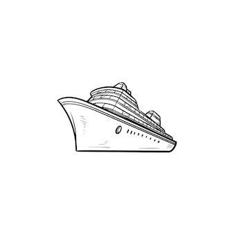 海のクルーズ船の手描きのアウトライン落書きアイコン。旅客クルーズライナーツアー、休日は旅行のコンセプトを出荷します。白い背景の上の印刷、ウェブ、モバイル、インフォグラフィックのベクトルスケッチイラスト。