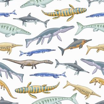 海の恐竜またはジュラ紀の動物のシームレスパターン
