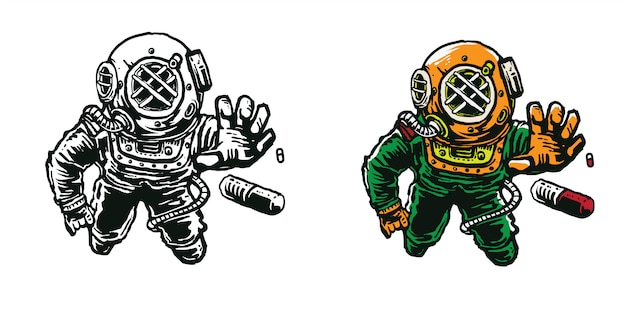 Sea diver helmet astronaut reach capsule art cartoon art illustration for apparel design