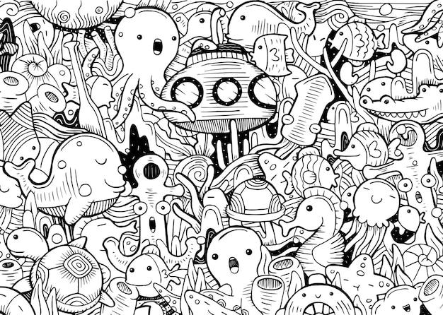 Иллюстрация моря каракули в плоском мультяшном стиле