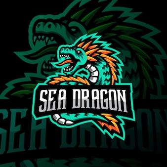 Sea dragon mascot logo gaming esport illustration
