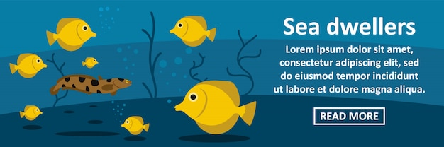 Sea dwellers banner template horizontal concept