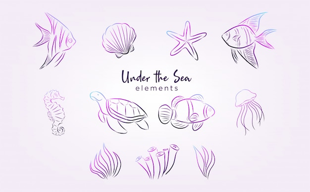 Under the sea elements with line art and gradient color