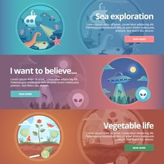 바다 탐험. 생명의 과학. 자연 과학. ufology. 플라잉 접시. 외계인 납치. 야채 생활. 식물학 연구. 식물의 과학. 교육 및 과학 배너 세트. 개념.