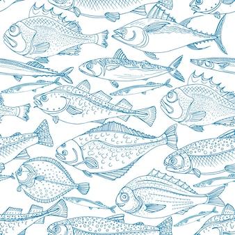 Морская рыба морская бесшовные модели окунь треска скумбрия камбала сайра каракули искусства