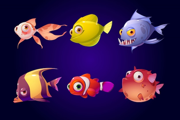 Sea fish, tropical colorful aquarium creatures set