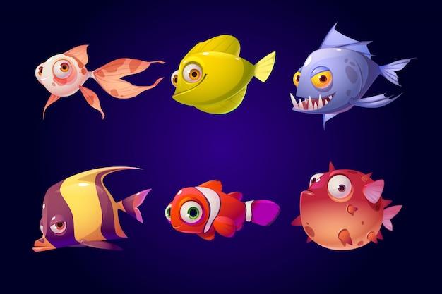 海の魚、熱帯のカラフルな水族館の生き物セット