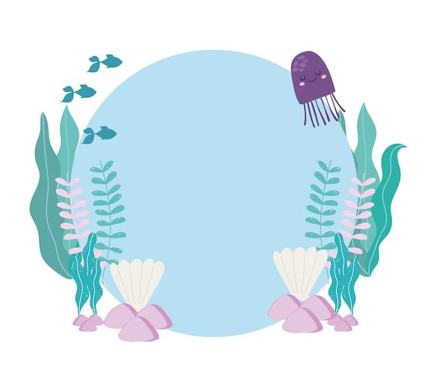 Sea fishes jellyfish, seashells, algaes and stones illustration