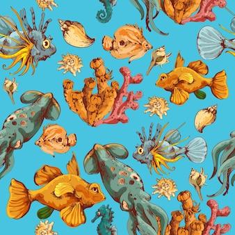 Pesci di mare e creature di oceano schizzo illustrazione vettoriale senza soluzione di colore colorato