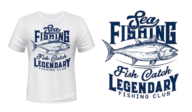 Sea fishing club t-shirt  print with tuna fish. big tunny, saltwater commercial fish, big game trophy engraved illustration and typography. fishermen club clothing custom  print
