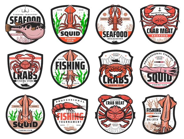 Sea fishing vector icons for seafood restaurant, fishing club catch tournament and fishery store. sea crab, ocean lobster and squid, shrimp or prawn with puffer fish isolated emblems or labels set