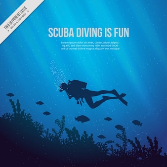 Sea floor with scuba diver and seaweeds blue background