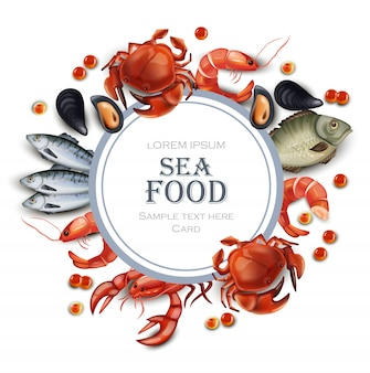 Sea food card with fish and shrimps