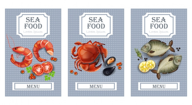 Sea food cards with fish and shrimps