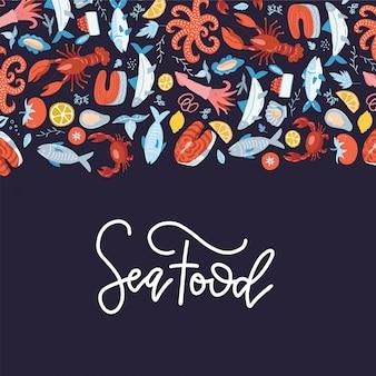 Плоская иллюстрация рамы морепродуктов. ручной обращается дизайн обложки меню с буквами.